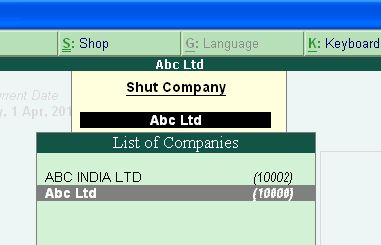 Opening (loading) and closing (shutting) of companies in tally