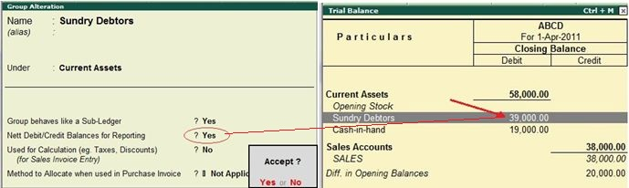 What is the effect of net Debit/Credit balances for reporting?