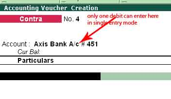 Contra voucher entry in tally erp 9 bank & cash transactions