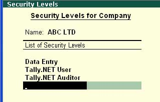 Security Level for company screen