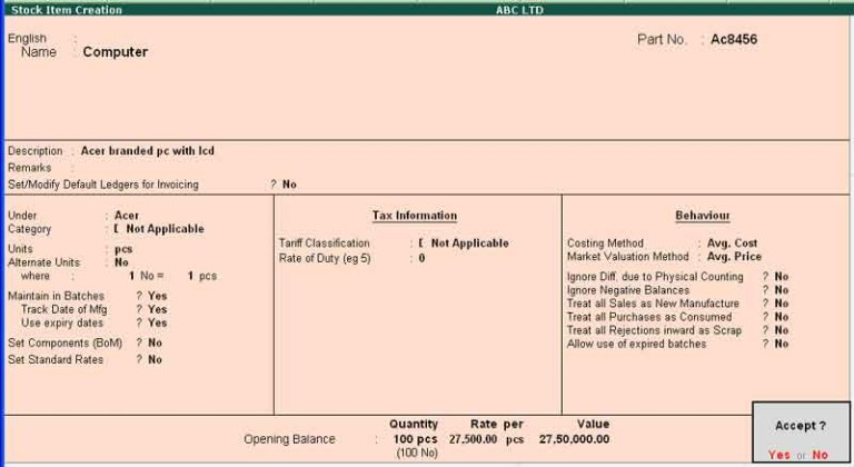 Stock item creation in tally, Tally erp9