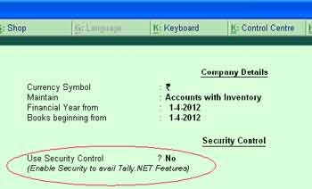 Security control and user management in tally