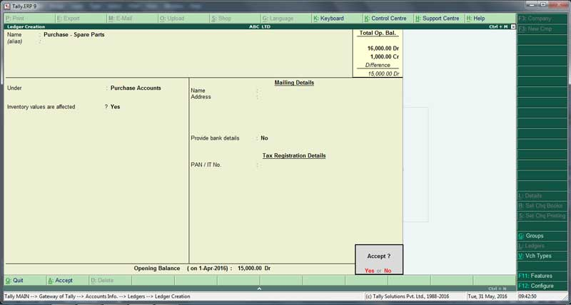 Purchase Ledger creation