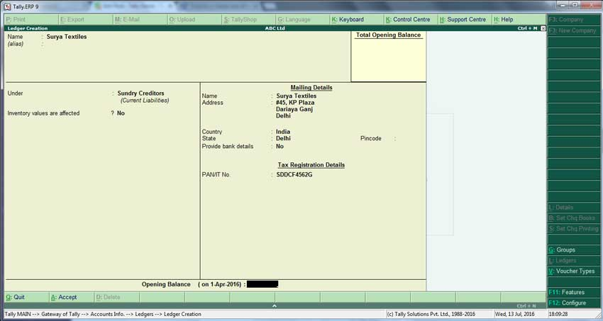 Sundry creditors ledger creation screen