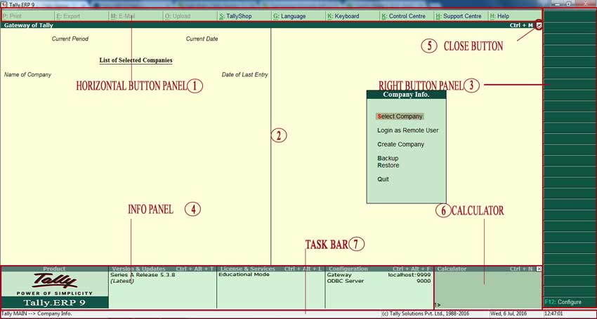 Tally ERP 9 Software interface