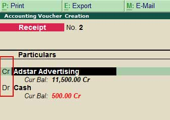 Dr cr receipt voucher