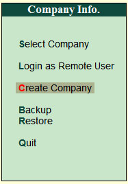 Create Company Menu