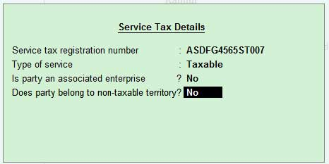 Service tax details of service provider