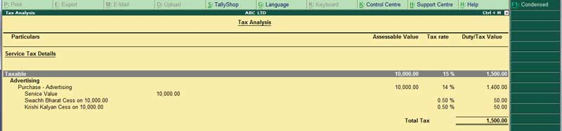 Service purchase of tax analysis