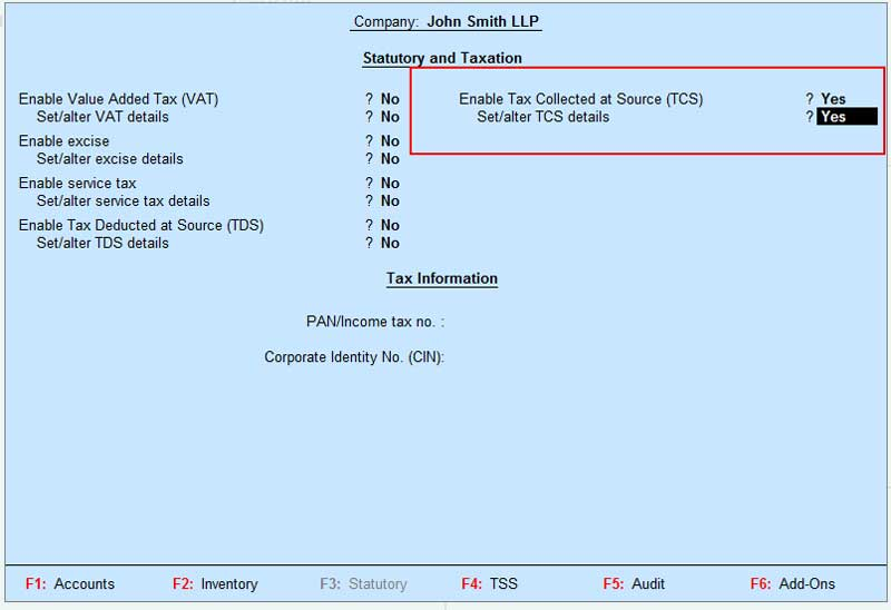 Activation screen of TCS in Tally ERP9 using F11 feature