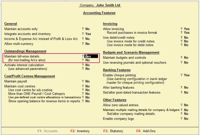 Maintain bill-wise details in Tally ERP 9