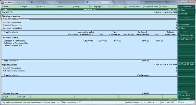 Form 27 EQ report in Tally ERP9