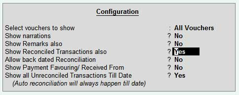 Bank reconciliation configuration in tally ERP9