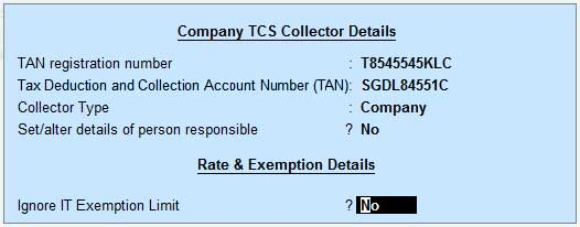 Companies or TCS collectors details entry screen