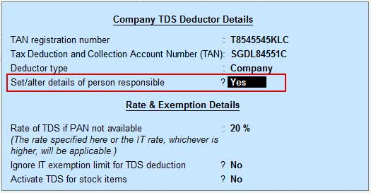 Details of deductor, the person who deduct TDS