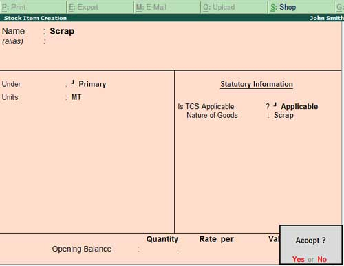 Stock item creation with TCS applicability
