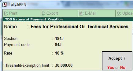 TDS nature of payment creation screen