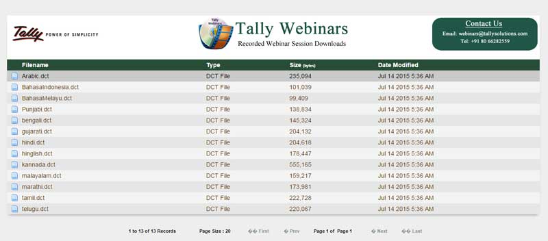 Tally dictionary files download page