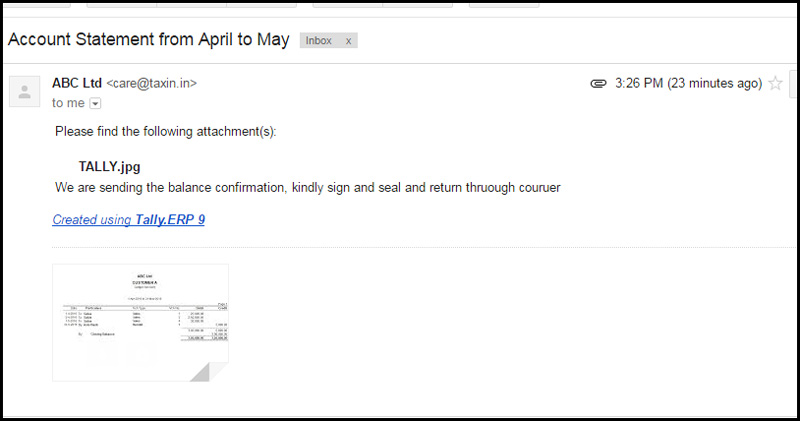 Email content sent through tally erp9