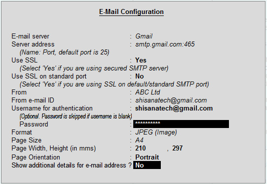 Email configuration for gmail address