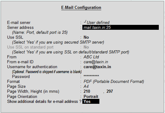 user defined email configuration for Tally ERP9