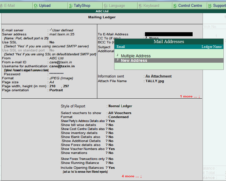Email sending screen of tally erp9