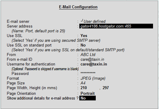 SSL mail configuration in tally erp9
