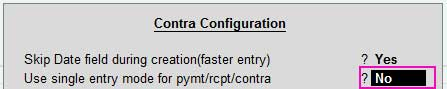 Use single entry mode for pymt/rcpt/contra.