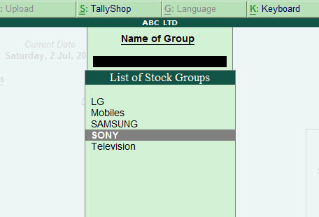 Image result for display stock group television in tally