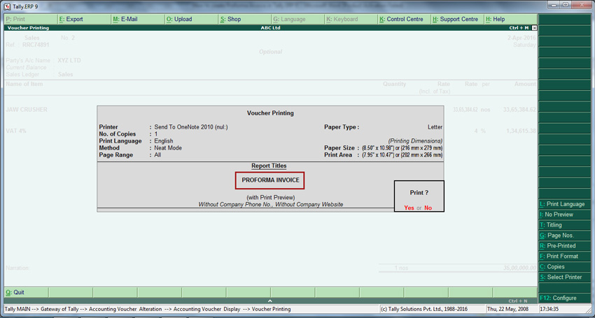 How To Create Proforma Invoice In Tally Erp