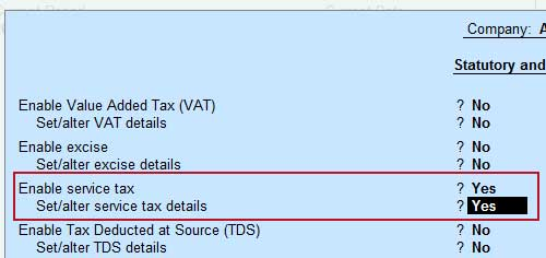set/alter service tax details