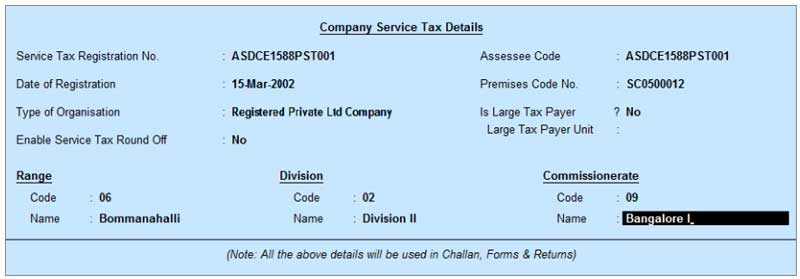 Company service tax details