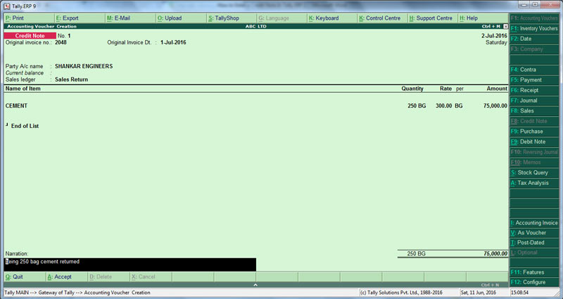Credit note Invoice mode