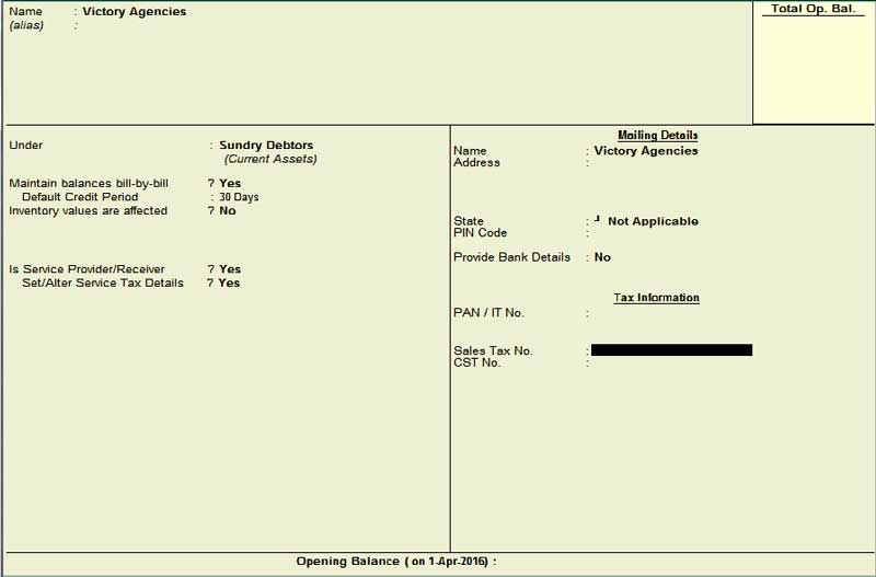 Customer Ledger creation for service tax
