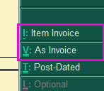 Item invoice button