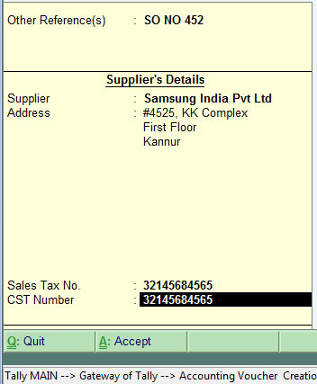 Creating purchase entry or purchase voucher in tally erp 9 purchase voucher supplementary details or suppliers details altavistaventures Image collections