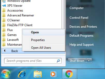 Context menu at all program on start menu