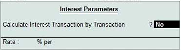 Interest calculation parameters