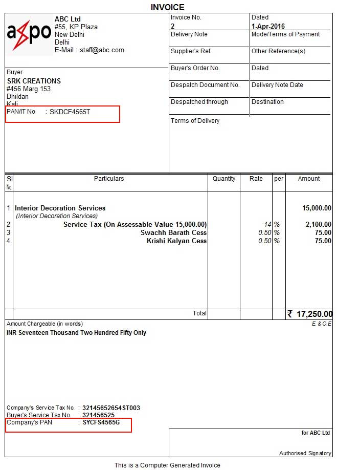 Invoice With PAN Printed