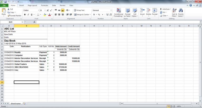 Opened excel exported from tally