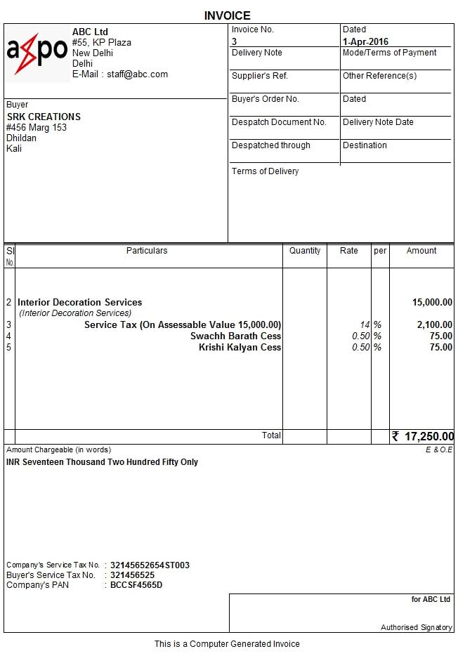 Service invoice using sales voucher