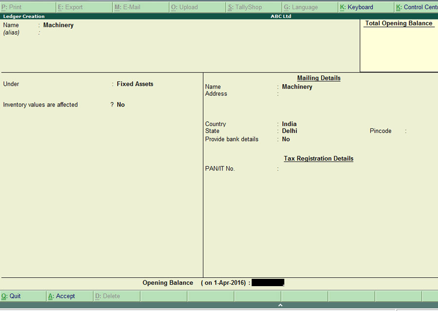 How to create Fixed Asset Ledger In Tally ERP 9