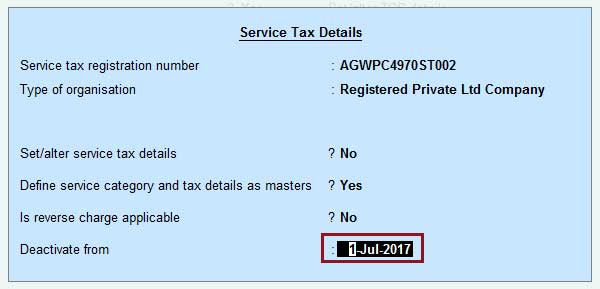 Service tax deactivate from screenshot