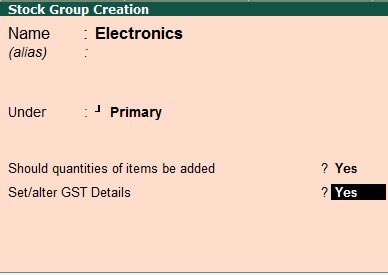 Create stock group with gst rate