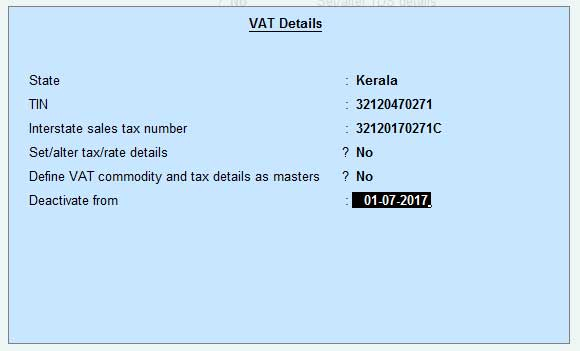 VAT Deactivate from option screen