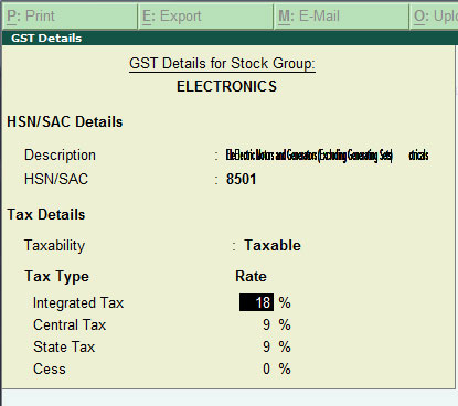 GST rate hsn code setting for stock group