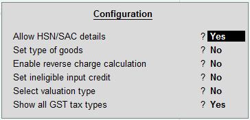 GST details configuration screen in stock item creation
