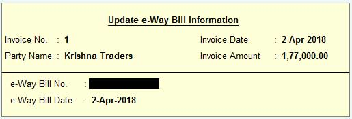 Update e-way bill information after generating e-way bill