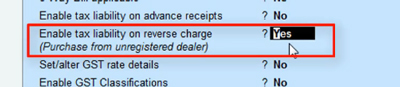 enable tax liability on reverse charge