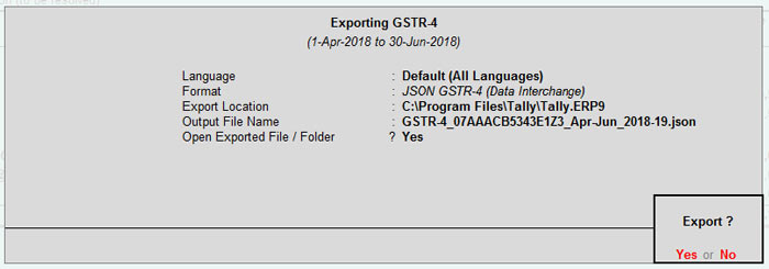 exporting gstr-4 options